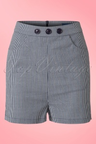 Collectif Clothing Talis Striped Shorts Navy 20853 20161130 0007W