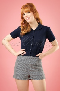 50s Talis Striped Shorts in Navy and Ivory