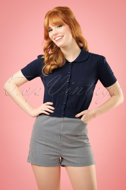 Collectif Clothing Talis Striped Shorts Navy 20853 20161130 1W2