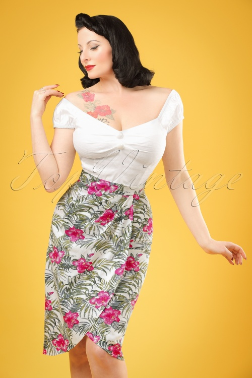 Collectif Clothing Kala Tropical Hibiscus Sarong Skirt 20659 20161130 1W
