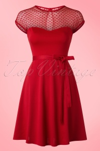 Madeline Hearts Only Swing Dress Années 50 en Rouge
