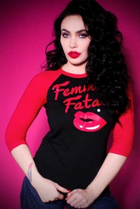 TopVintage exclusive ~ 50s Femme Fatale Baseball Shirt in Black and Red