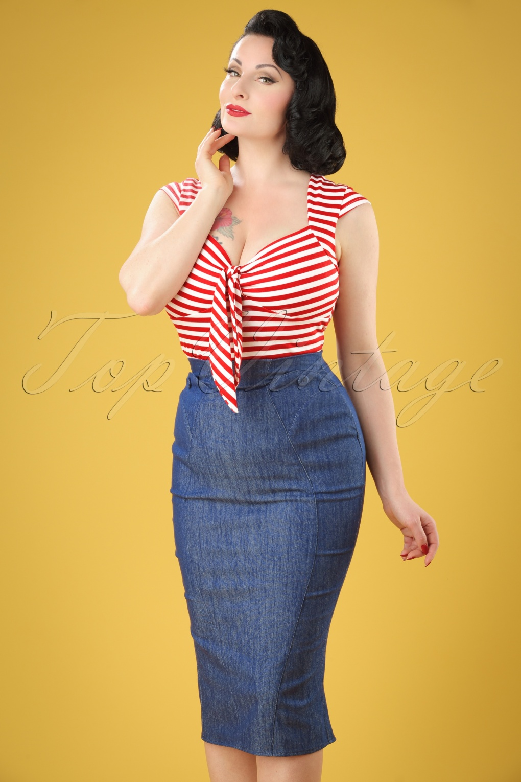 1950s Skirts; Pinup, Poodle, Pencil, Swing & Circle Skirts 50s Nicky Lee Denim Pencil Skirt in Navy £50.29 AT vintagedancer.com