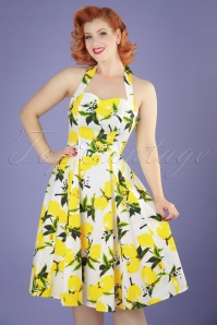 50s Randy Lemon Swing Dress in White