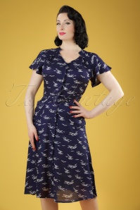 40s Padstow Birds Swing Dress in Navy