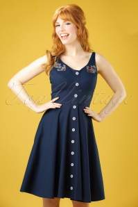50s Sela Swing Dress in Navy