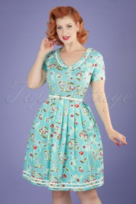 50s Muggelsee Matrosin Dress in Floral Promotion Light Blue