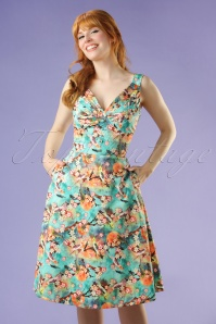Vixen Lizabeth Green Floral Dress 102 49 20454 20170308 0012W
