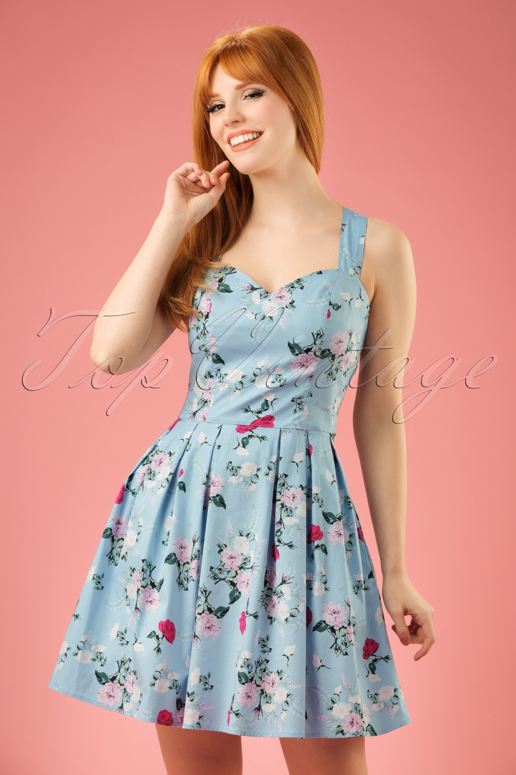 1940s Pinup Dresses for Sale 50s Belinda Floral Mini Dress in Blue £25.01 AT vintagedancer.com