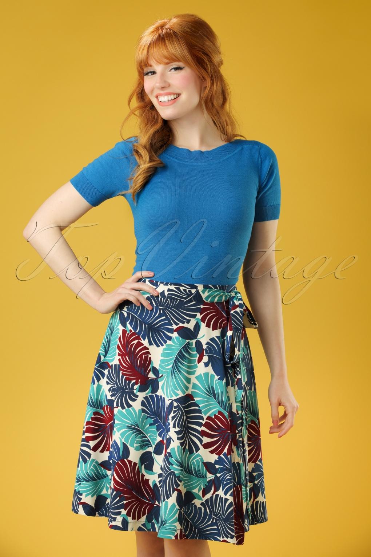 Retro Skirts: Vintage, Pencil, Circle, & Plus Sizes 60s Tropicana Wrap Skirt in Cream £70.79 AT vintagedancer.com