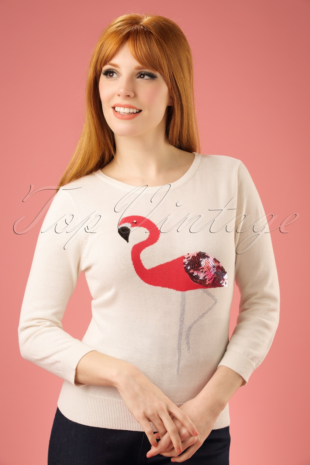 1950s Tops and Blouse Styles 60s Emma Embellished Flamingo Jumper in Ivory £48.94 AT vintagedancer.com