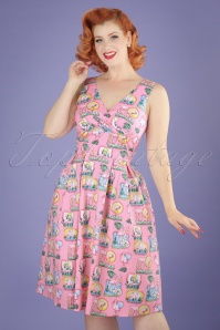 50s Maxine Flamingo Swing Dress in Pink