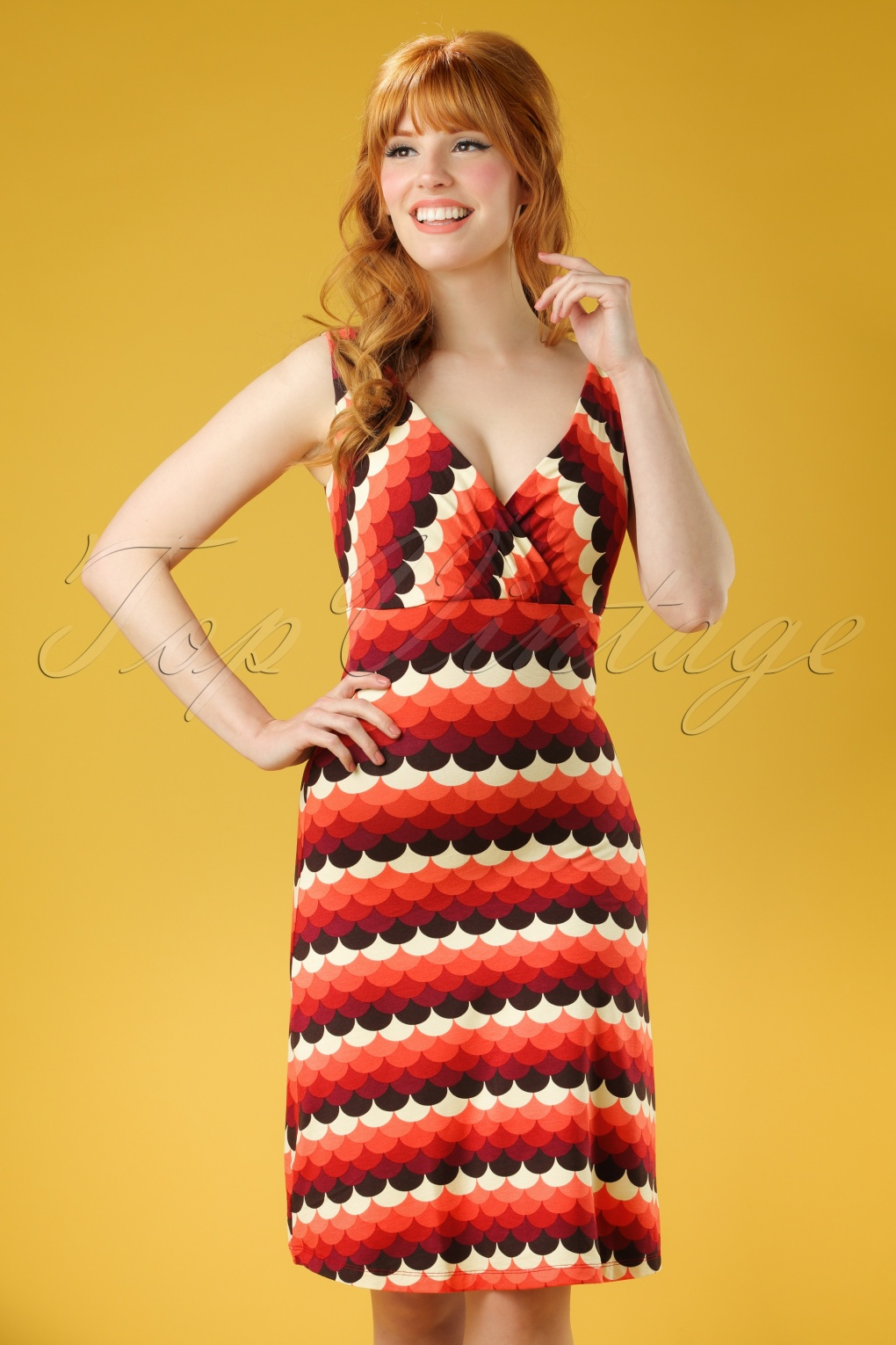 1960s Dresses – A Rainbow of 50 Dresses (Pictures) 70s Ginger Frisky Dress in Rumba Red £66.43 AT vintagedancer.com
