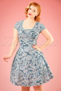 70s Pluckily Mary Robe in Bloomy Blossoms Blue
