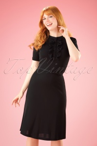 60s Gaya Swan Dress in Black