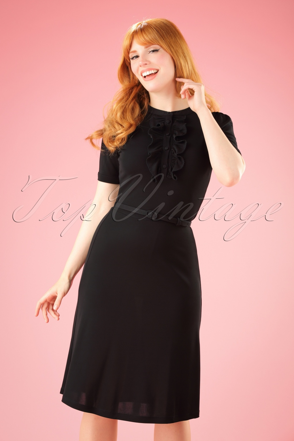 Vintage Inspired Cocktail Dresses, Party Dresses 60s Gaya Swan Dress in Black £104.91 AT vintagedancer.com