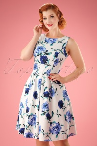 50s Jody Floral Flared Dress in Ivory and Blue