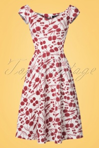 50s Emma Cherry Swing Dress in White
