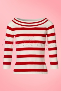 50s Ahoi Stripes Top in Red and White
