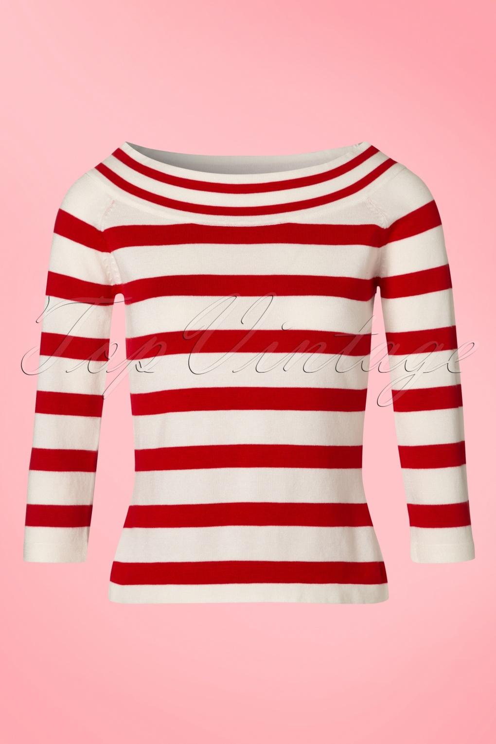 Vintage Sweaters: Cable Knit, Fair Isle Cardigans & Sweaters 50s Ahoi Stripes Top in Red and White £35.00 AT vintagedancer.com