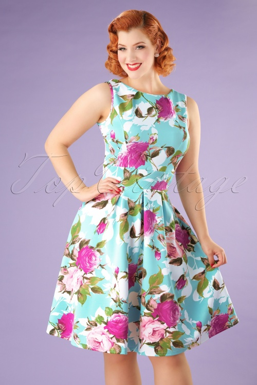 Vintage Chic Blue Floral Dress 102 39 21987 20170519 0008W