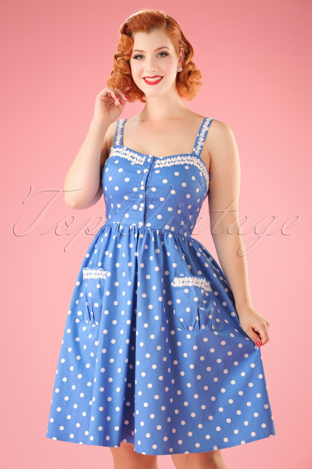 1940s Pinup Dresses for Sale Corinna Polkadot Swing Dress in Sky Blue £31.82 AT vintagedancer.com