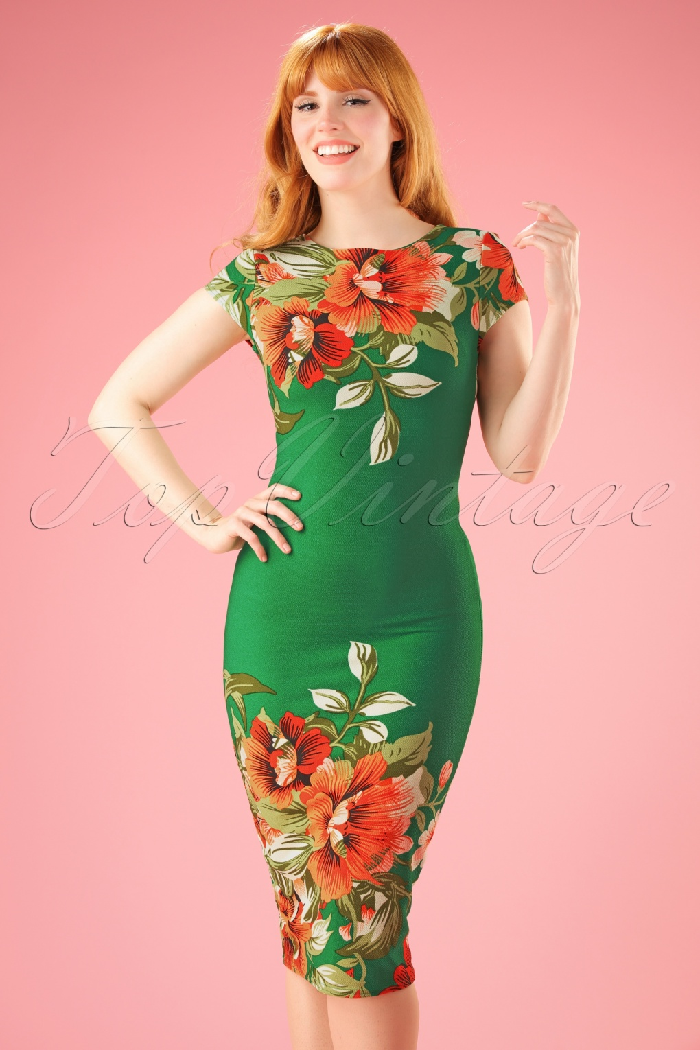 1960s Style Dresses- Retro Inspired Fashion 60s Aloha Tropical Garden Short Sleeves Pencil Dress in Emerald Green £25.26 AT vintagedancer.com