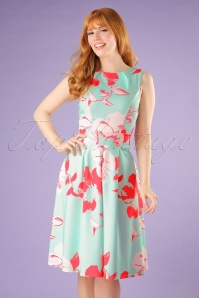 50s Veronica Floral Flare Dress in Mint and Pink
