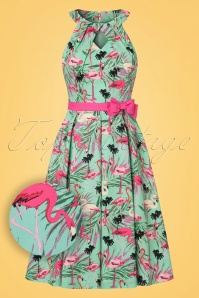50s Cherel Flamingo Swing Dress in Teal
