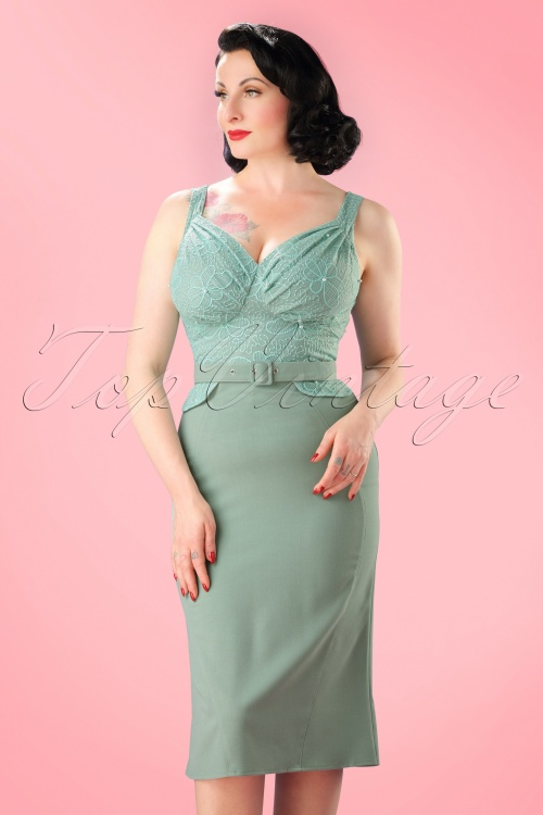 Miss Candyfloss Mint Beads, Pearls and Lace Pencil Dress 100 40 20618 20170510 01W