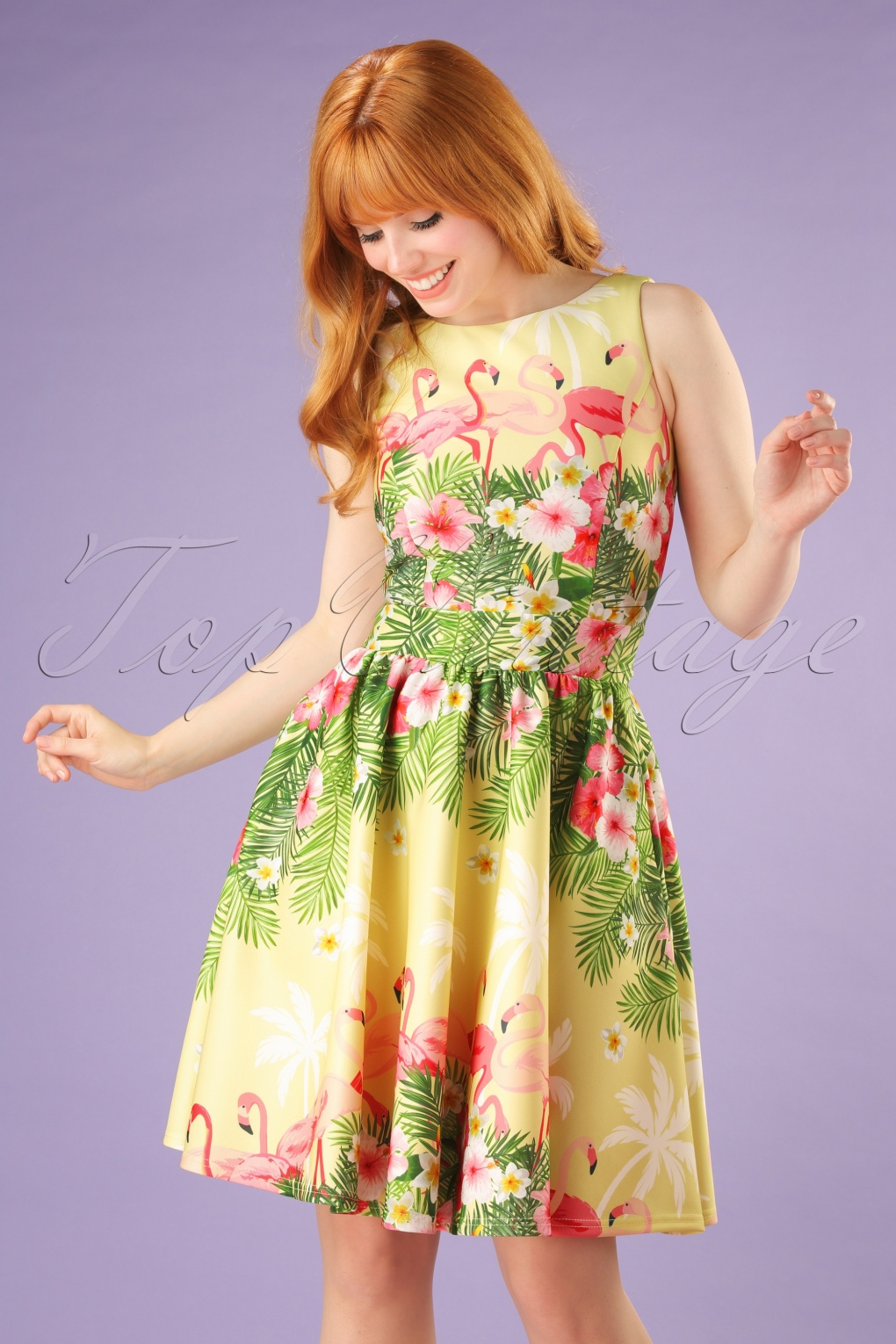 1940s Pinup Dresses for Sale 50s Tea Flamingo Swing Dress in Light Yellow £21.88 AT vintagedancer.com