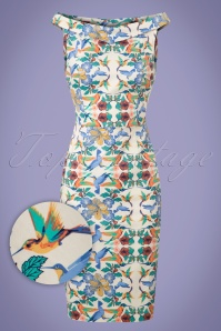 Dancing Days by Banned Floral Bird Pencil Dress 100 57 20917 20170517 0007wv