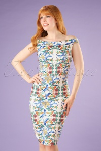 50s Mandala off Shoulder Pencil Dress in Sand