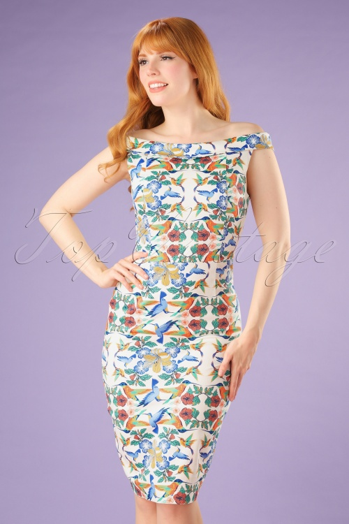 Dancing Days by Banned Floral Bird Pencil Dress 100 57 20917 20170517 0013W