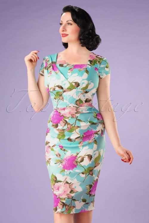 Vintage Chic Mint Floral Pencil Dress 100 39 21986 20170515 0008W