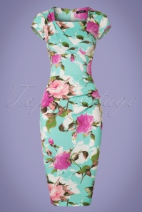 Vintage Chic Mint Floral Pencil Dress 100 39 21986 20170515 0002w