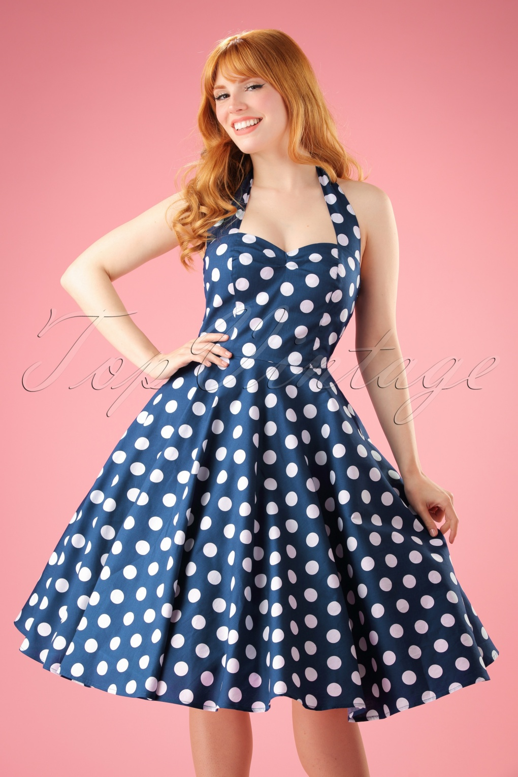 1940s Pinup Dresses for Sale 50s Meriam Polkadot Swing Dress in Navy and White £37.54 AT vintagedancer.com