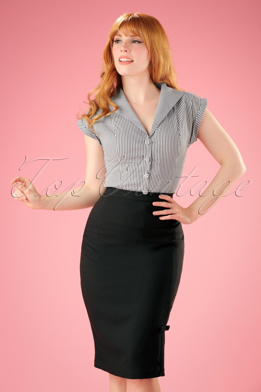 1950s Skirts; Pinup, Poodle, Pencil, Swing & Circle Skirts 50s Ashcott Pencil Skirt in Black £31.59 AT vintagedancer.com