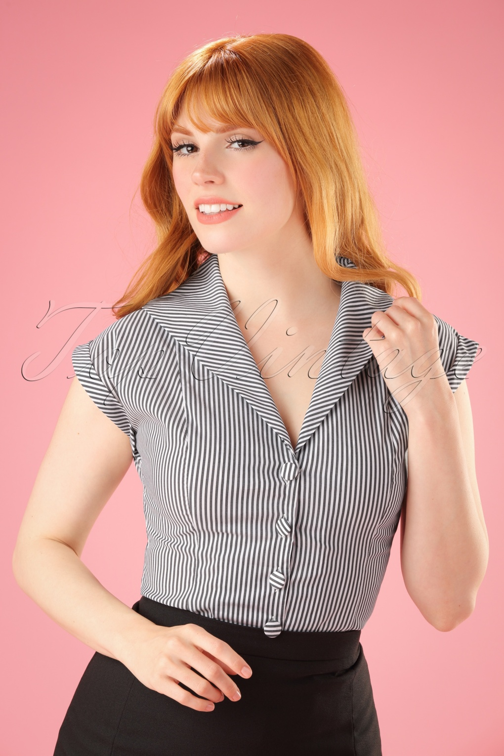 Vintage & Retro Shirts, Halter Tops, Blouses 50s Willow Stripes Blouse in Charcoal and White £26.73 AT vintagedancer.com
