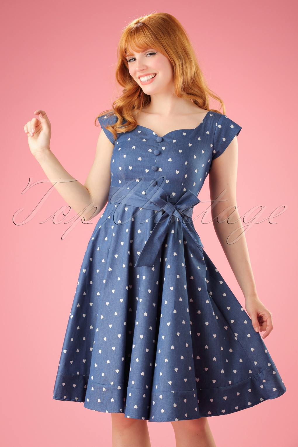 Pin Up Dresses | Pinup Clothing & Fashion 50s Judy Hearts Swing Dress in Denim �53.37 AT vintagedancer.com