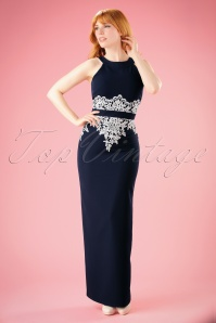 50s Corina Crochet Lace Maxi Dress in Navy