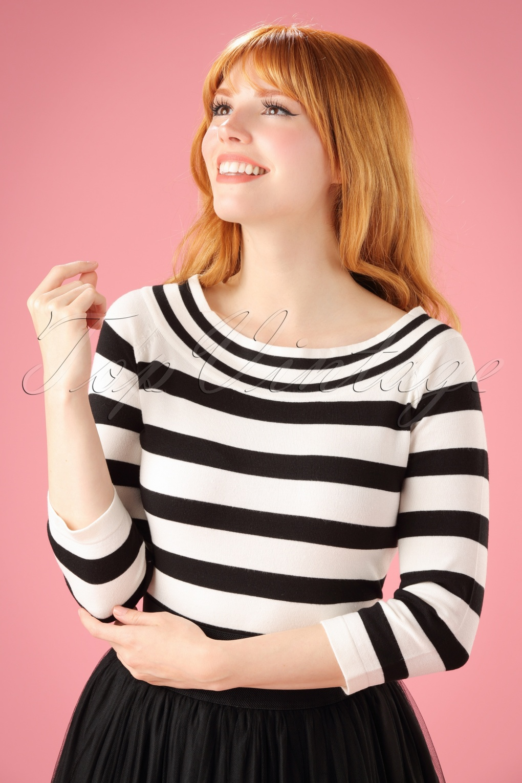 Vintage & Retro Shirts, Halter Tops, Blouses 50s Ahoi Stripes Top in Black and White £18.04 AT vintagedancer.com