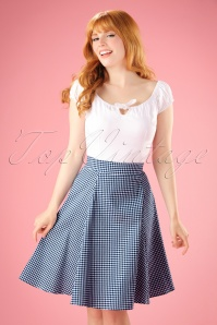 50s Tammy Gingham Skirt in Navy