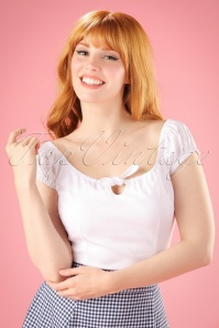 Collectif Clothing 50s Lorena Plain Top in White