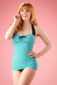 Banned Retro 50s Rogues Polkadots Onepiece Swimsuit in Vintage Blue