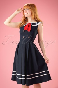 50s Aquarius Sailor Swing Dress in Navy
