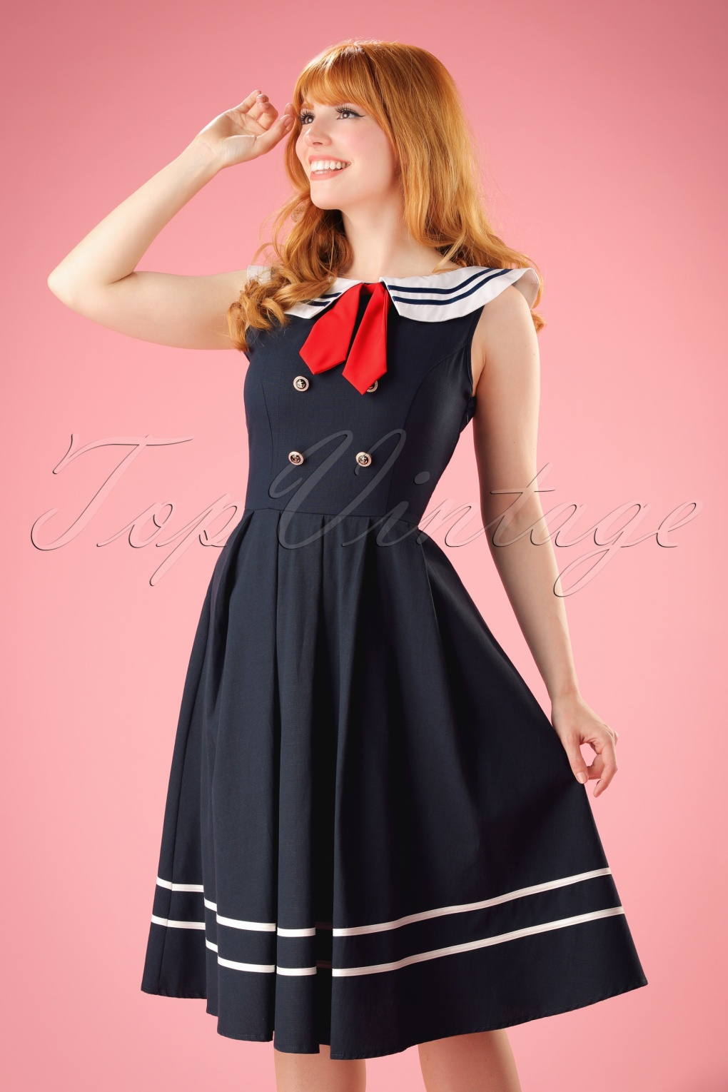 1940s Pinup Dresses for Sale 50s Aquarius Sailor Swing Dress in Navy £22.55 AT vintagedancer.com