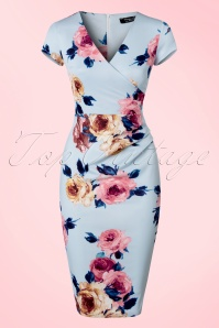 Vintage Chic Scuba Sky Blue Floral Pencil Dress 100 39 21991 20170616 0005w