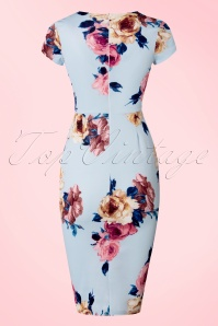 Vintage Chic Scuba Sky Blue Floral Pencil Dress 100 39 21991 20170616 0002w