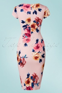 Vintage Chic Scuba Pink Floral Pencil Dress 100 57 21988 20170616 0006w